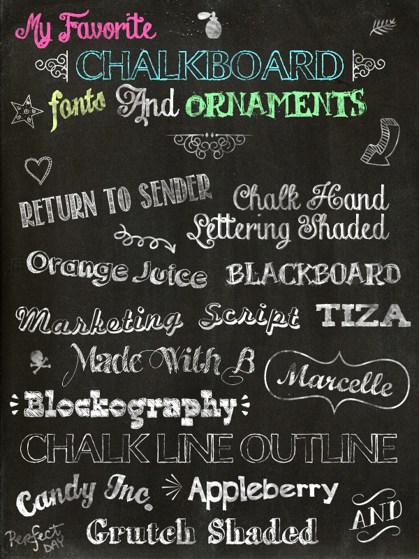 My Favorite Chalkboard Fonts And Ornaments