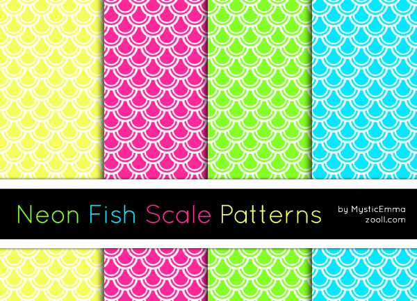 Neon Fish Scale Patterns Preview