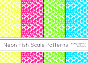 Neon Fish Scale Patterns Preview ZOOLL