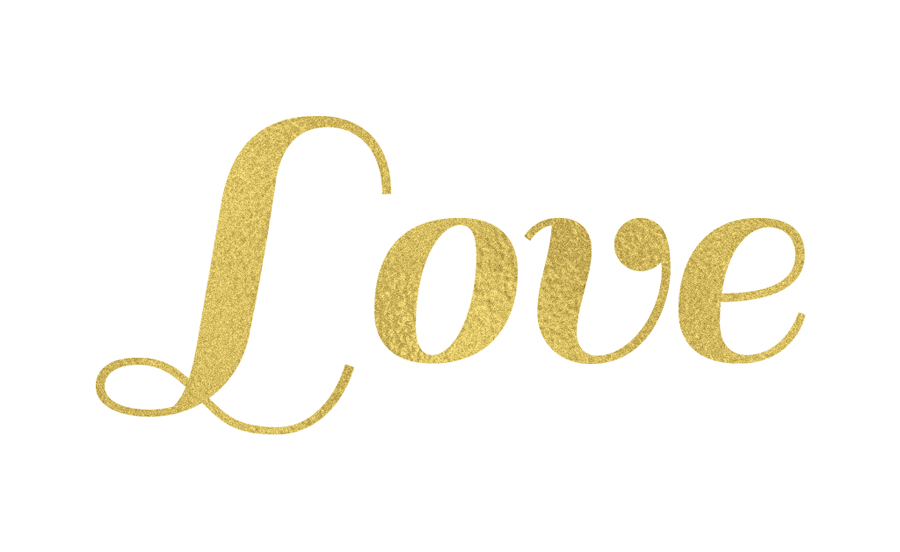 Gold Foil Text Love