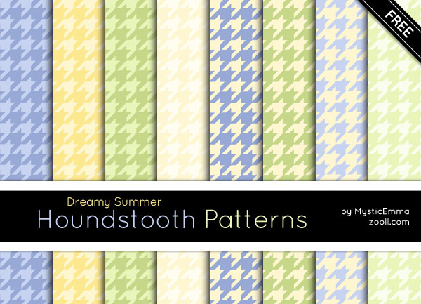 Dreamy Summer Houndstooth Patterns Preview