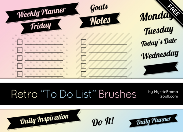 Retro To Do List Brushes Preview