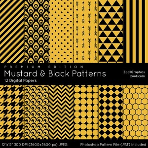 Mustard And Black Patterns Premium Edition Preview