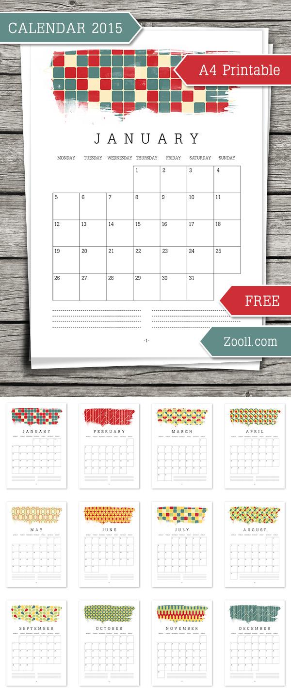 Calendar 2015 A4 Printable Preview
