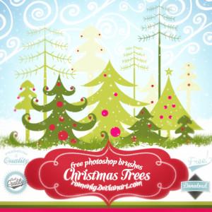 Free Christmas Trees Brush Set