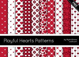 Playful Hearts Patterns Preview