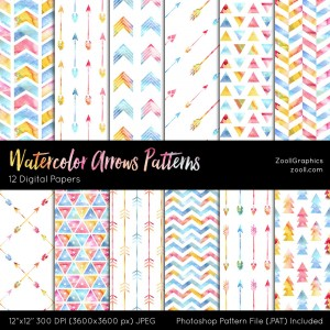 Wattercolor Arrows Patterns Preview