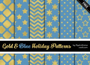 Gold And Blue Holiday Patterns Preview