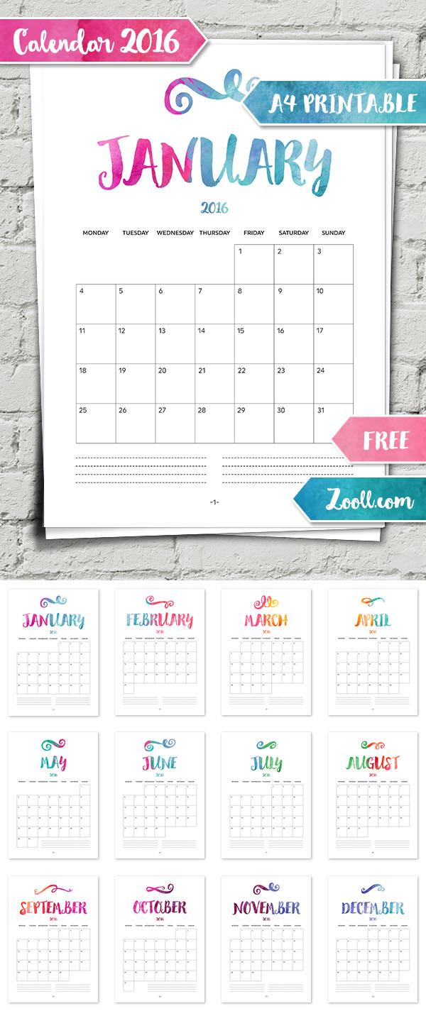 Calendar 2016 A4 Printable Preview