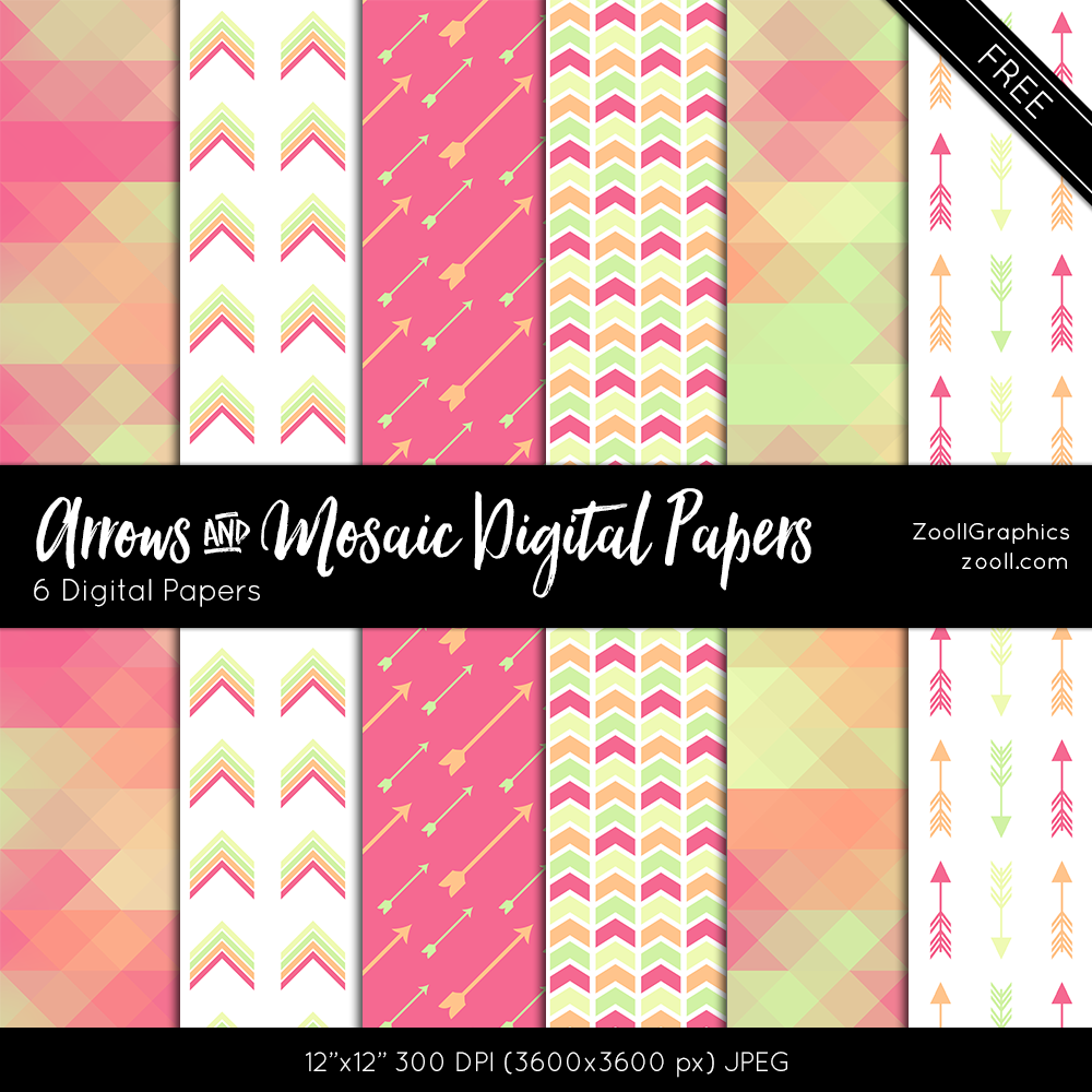 Arrows-And-Mosaic-Digital-Papers-Preview