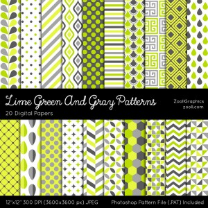 Lime Green And Gray Patterns Preview