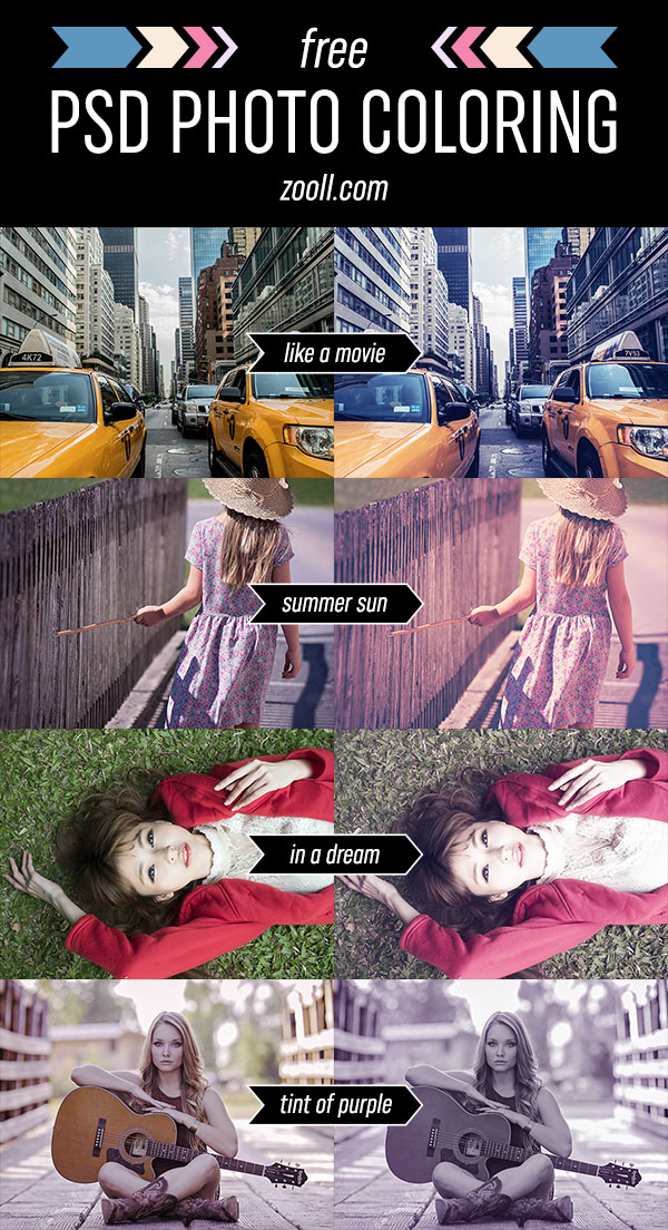 Free PSD Photo Coloring Preview