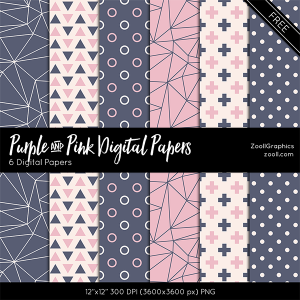 Purple And Pink Digital Papers