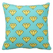 Diamond Pattern - Yellow & Turquoise Throw Pillow
