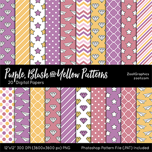 Purple, Blush And Yellow Patterns