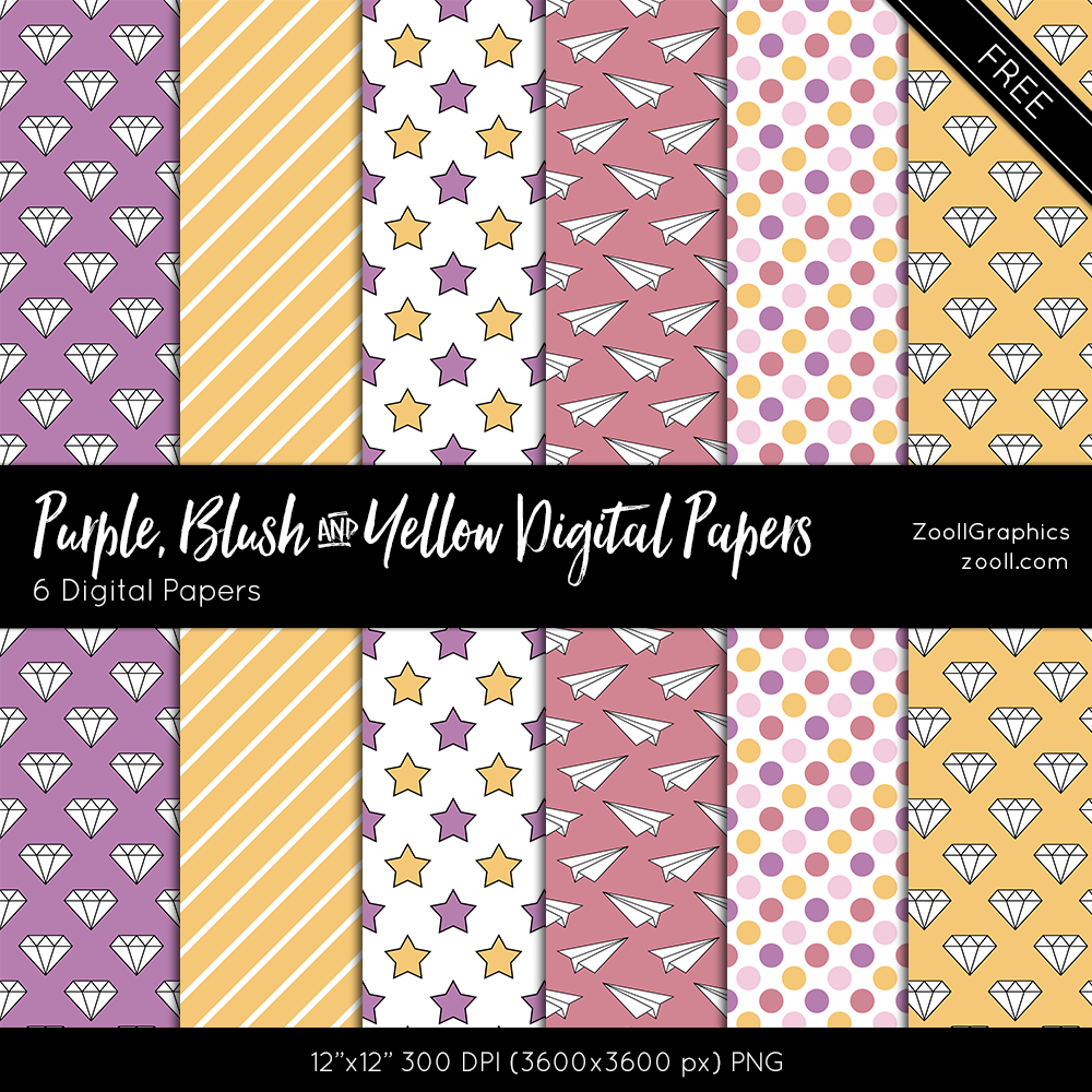 Purple, Blush And Yellow Digital Papers