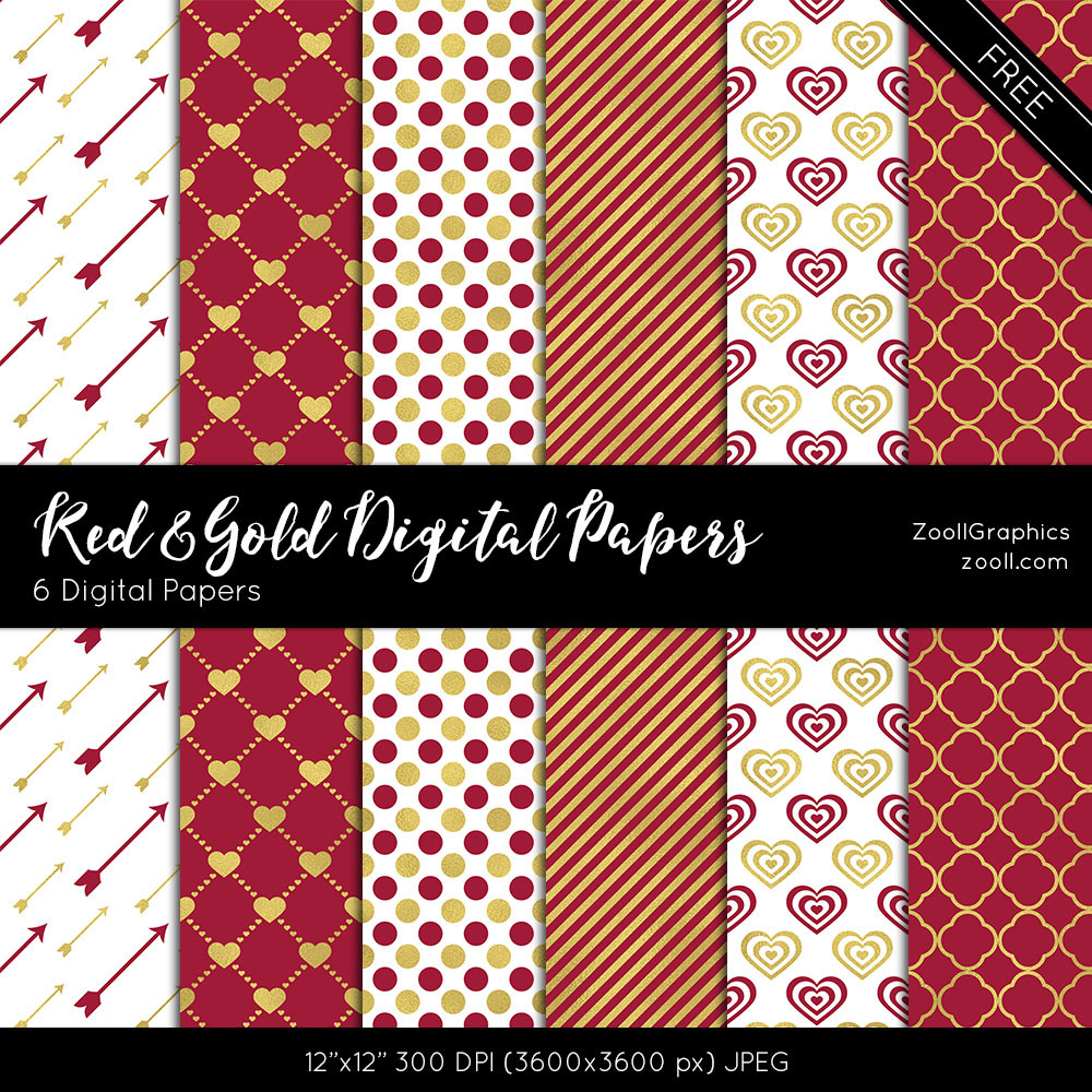 Red And Gold Digital Papers