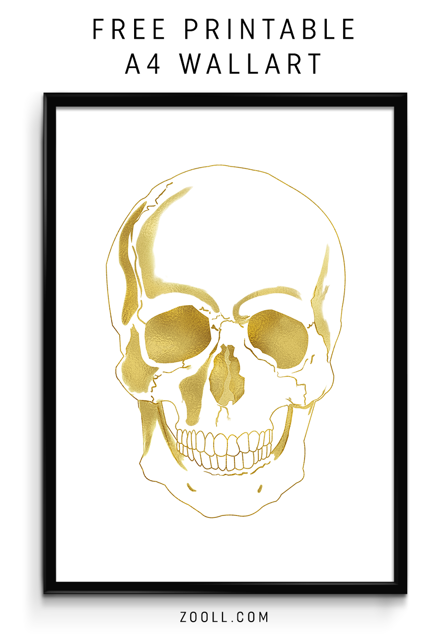 image about Skull Printable named  Printables: Gold Skull A4 Print