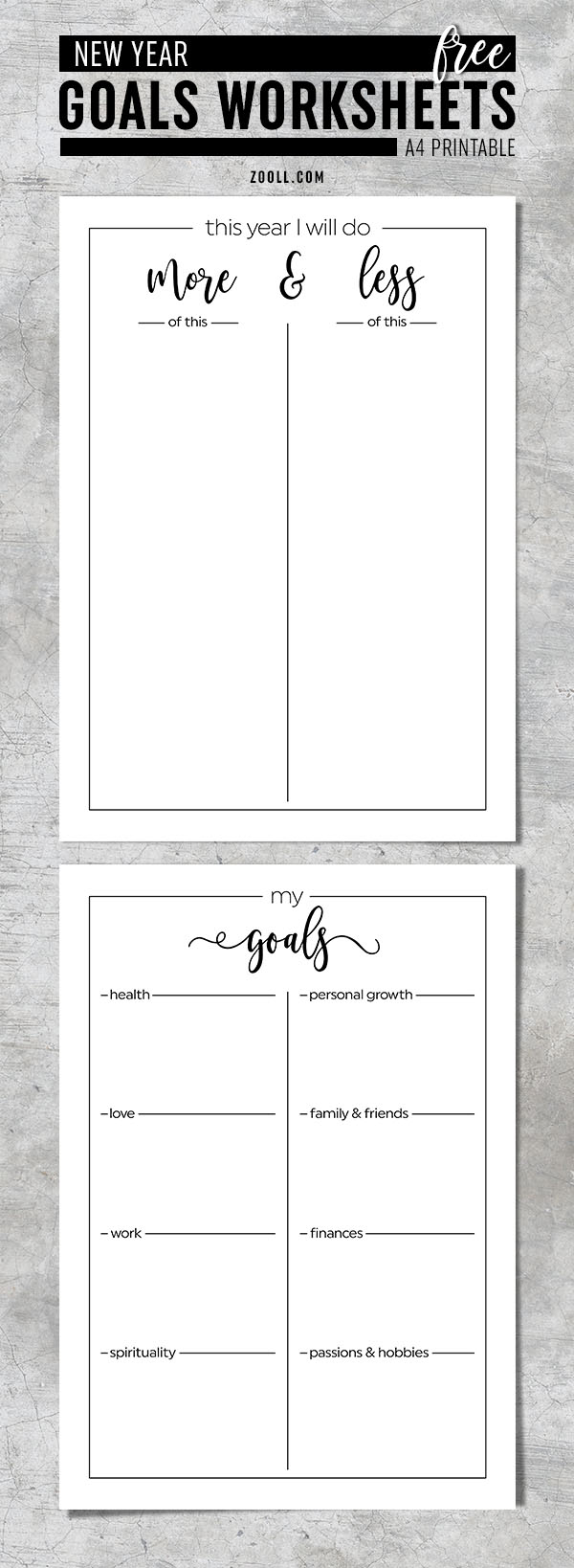 Printables: New Year Goals Worksheets