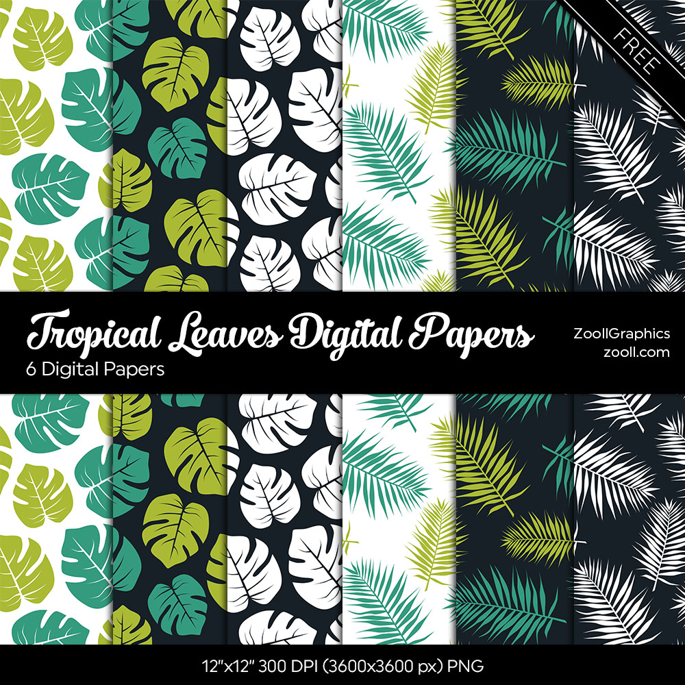 Zooll Com Printables Tropical Leaves Digital Papers 7 thoughts on free planner printable: printables tropical leaves digital papers